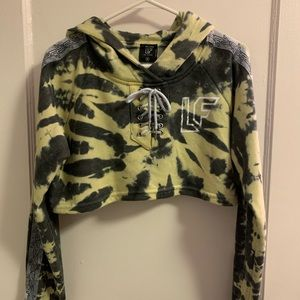 LF The Brand Tracker Lace Up Crop Hoodie